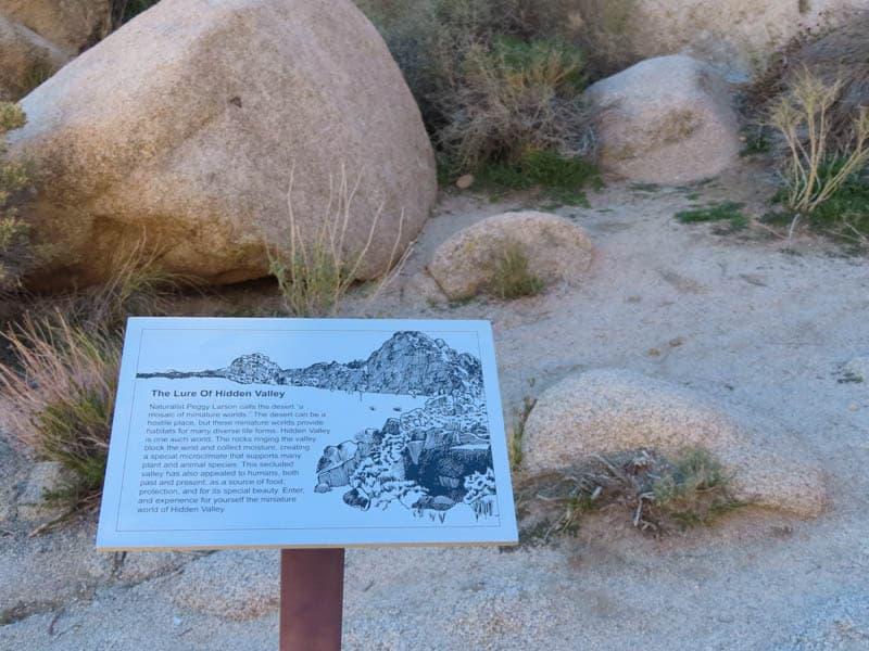 Information Plaque Hidden Valley Trail Joshua Tree