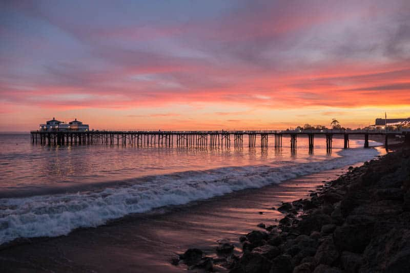 Malibu Pier in Southern California at Sunset