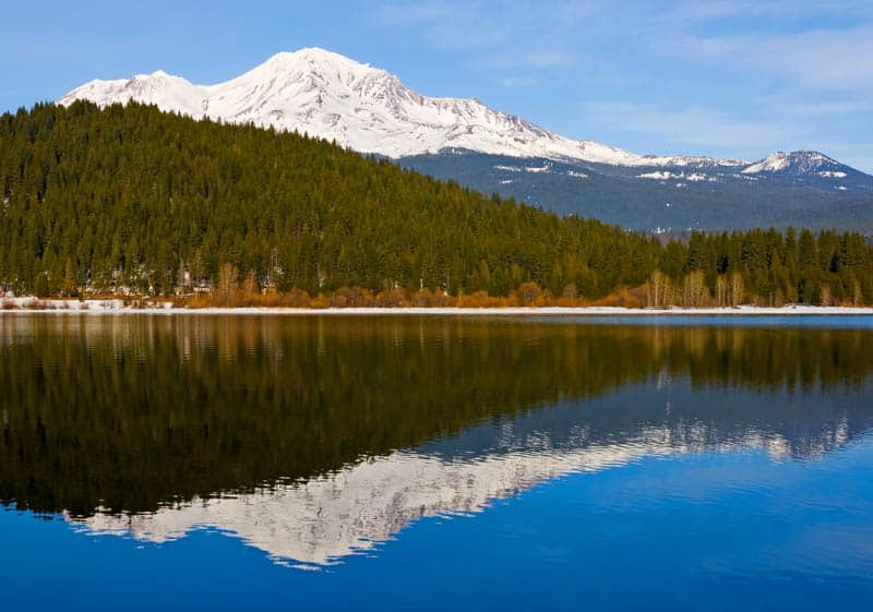 Mount Shasta reflected in Shasta Lake California