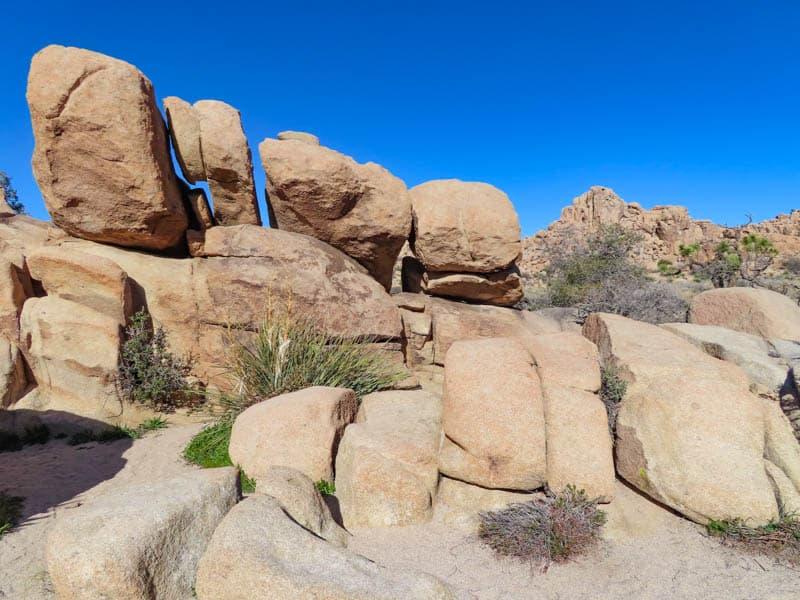 Rocks made for scrambling in Hidden Valley Joshua Tree National Park California