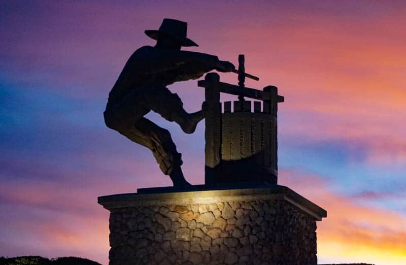 Grape Crusher Statue Napa California