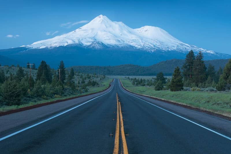 Mount Shasta is one of the best places in California to visit in December!