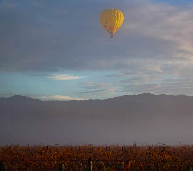 Balloon over Napa Valley in California