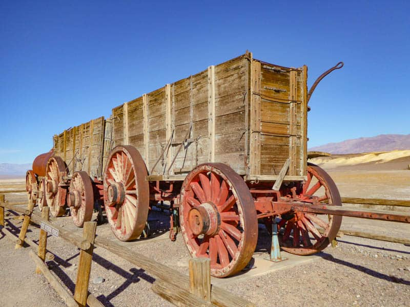 Double mule wagon in Death Valley National Park California