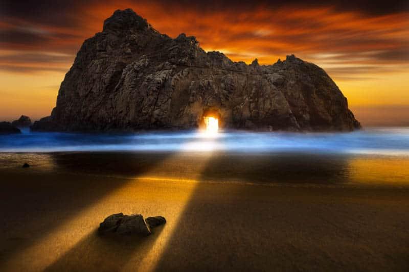Light show at Pfeiffer Beach in Big Sur California