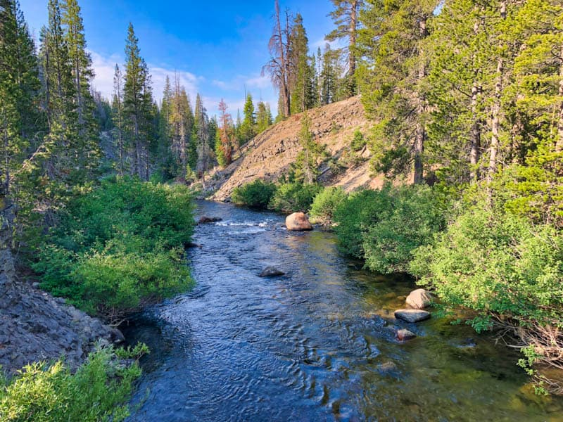 Views of the Middle Fork of the San Joaquin River from the bridge in Devils Postpile National Monument California