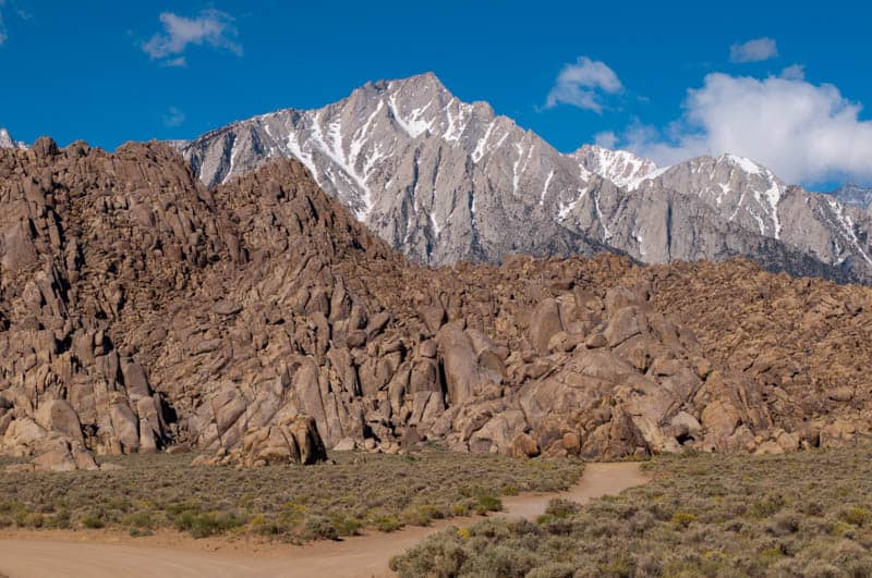 The Alabama Hills with the Sierra Nevada in the background