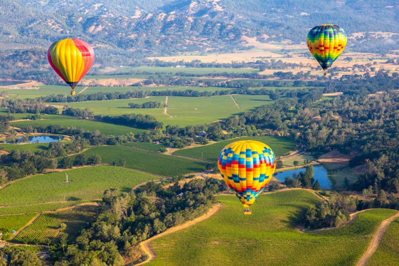 Balloons over Napa Valley in California
