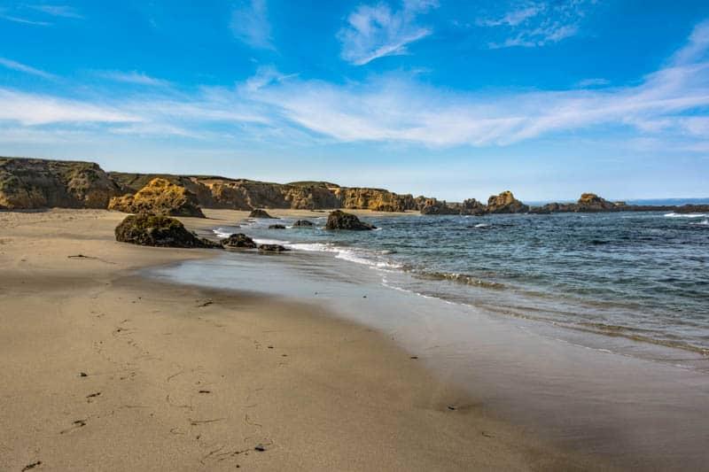 A sandy beach in Fort Bragg California