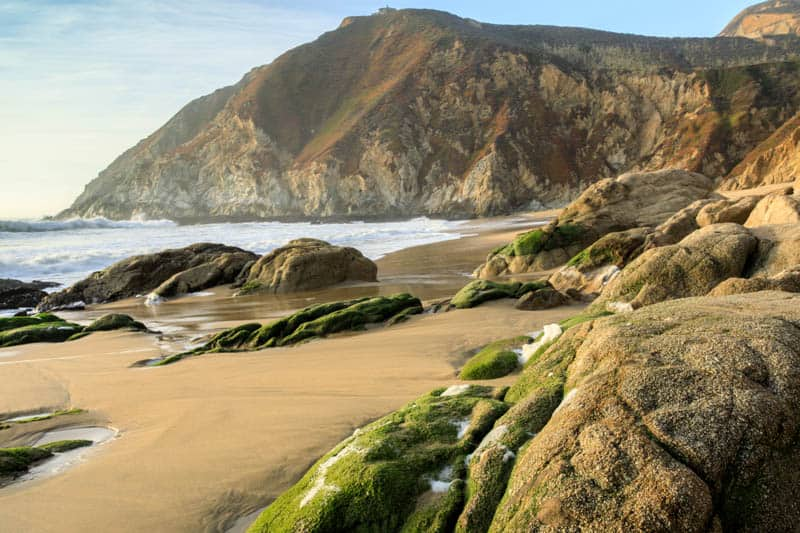 A rugged beach in Half Moon Bay California