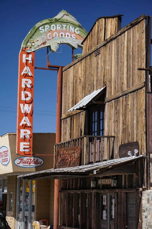 Facade and neon sign in Lone Pine California