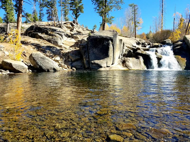 Lower Rainbow Falls near Devils Postpile National Monument in Mammoth Lakes California