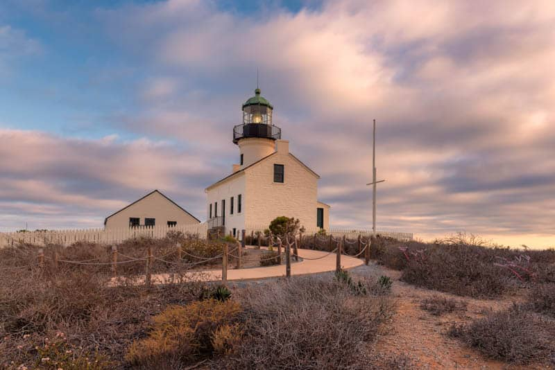 The Old Point Loma Lighthouse is a major attraction at Cabrillo National Monument in San Diego, California