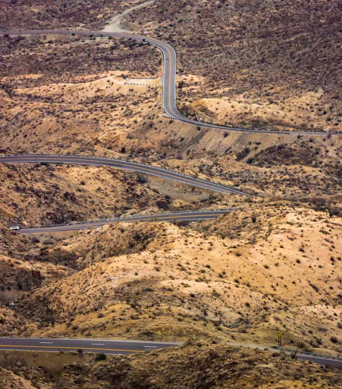 Palms to Pines scenic Byway near Palm Springs California
