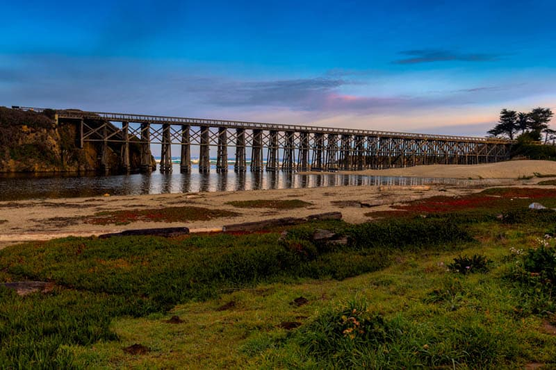 A view of the historic Pudding Creek Trestle in Fort Bragg California
