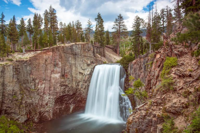 Rainbow Falls is one of the biggest attractions at Devils Postpile National Monument in Mammoth Lakes California