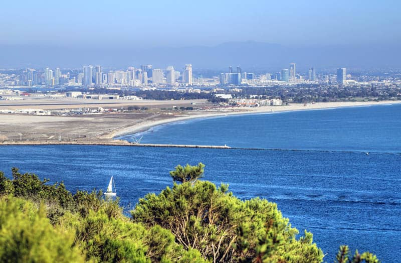 A view of San Diego and the bay from Cabrillo National Monument in San Diego