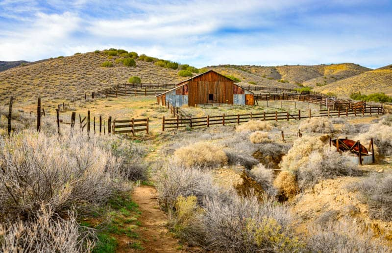 Old farm building in Carrizo Plain National Monument in California