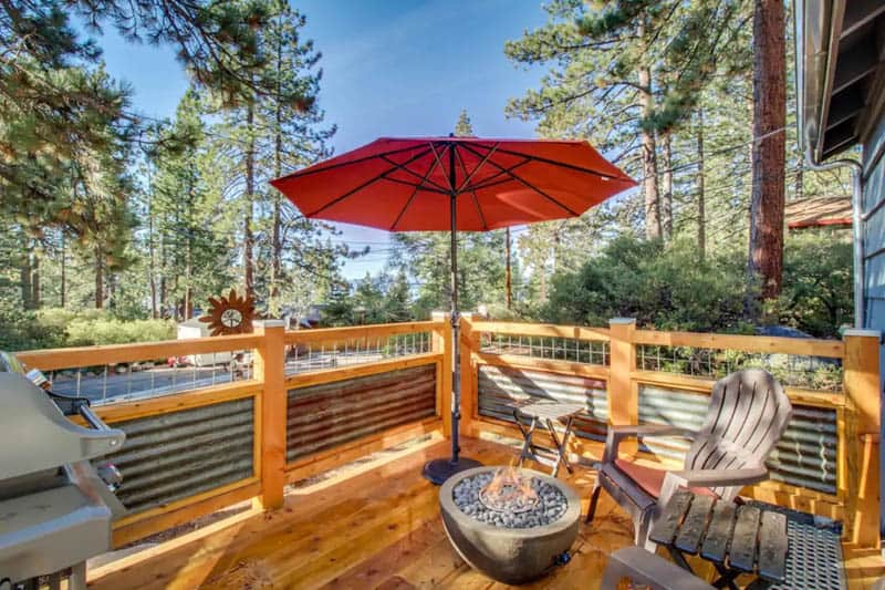 Deck of Tiny Home in Kings Beach North Lake Tahoe Airbnb