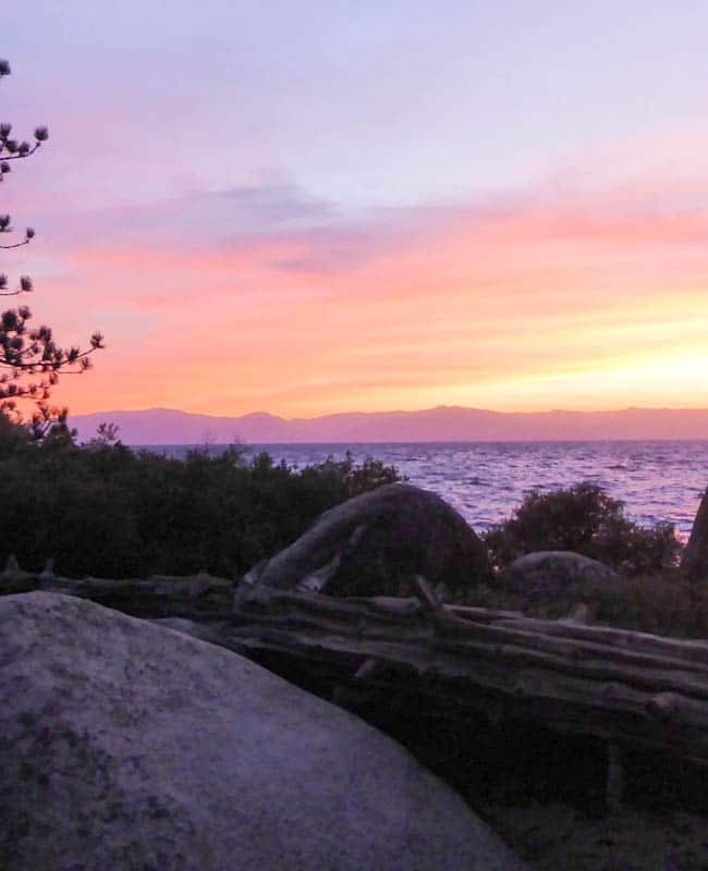 Sunset from Sand Harbor State Park Lake Tahoe Nevada