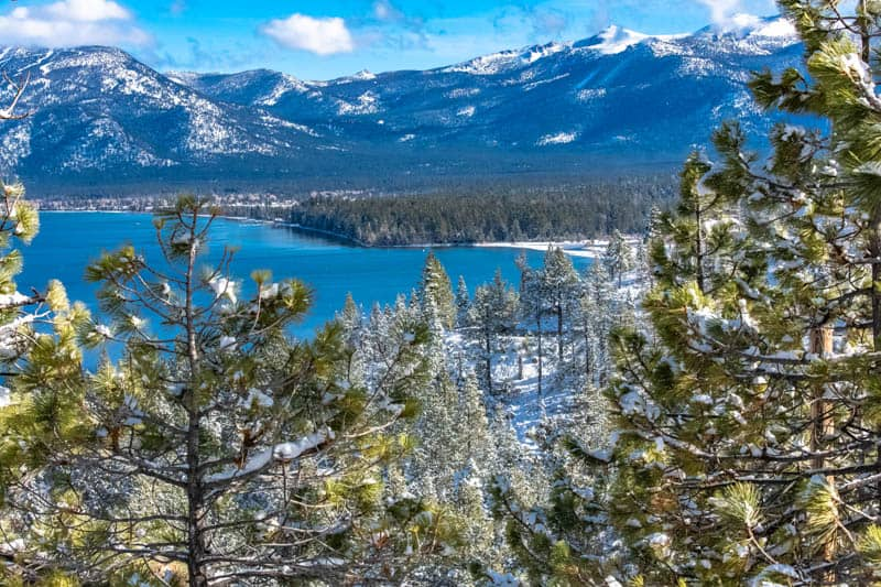 Winter panorama of Lake Tahoe in the High Sierra