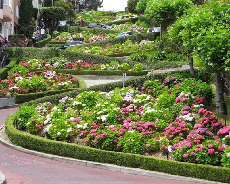 The crooked Lombard Street in San Francisco California