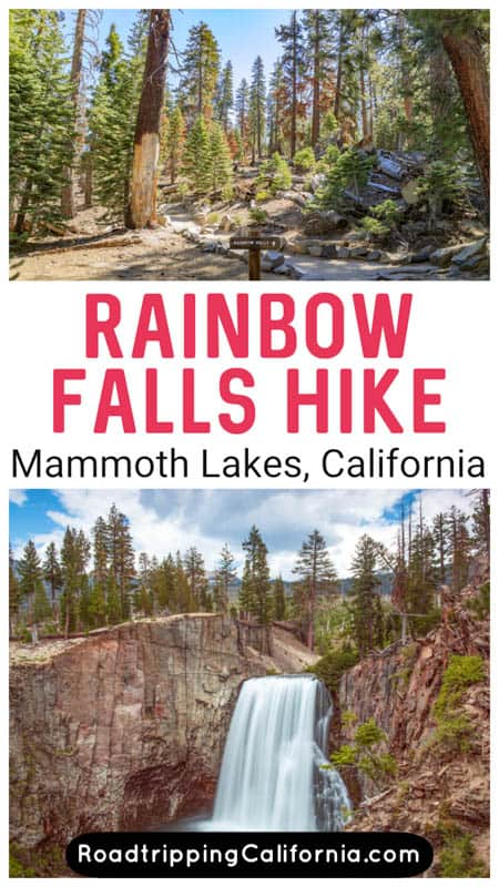 Discover how to hike to Rainbow Falls in Mammoth Lakes California! These beautiful falls are part of Devils Postpile National Monument and the hike is one of the top things to do in Mammoth Lakes!