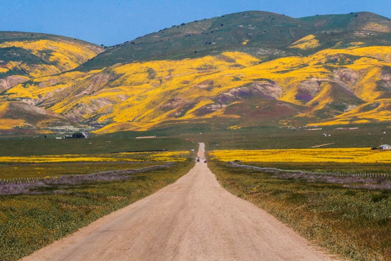 Scenic auto touring in Carrizo Plains National Monument in Central California