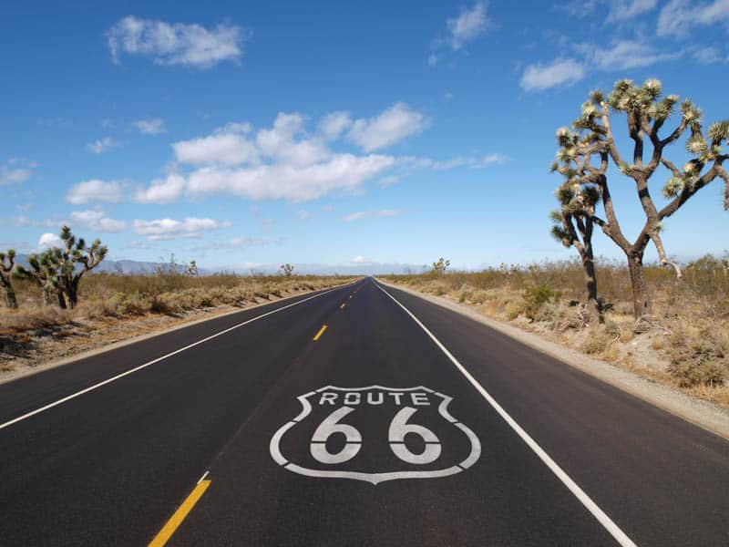 Driving Route 66 through the Mojave Desert in California