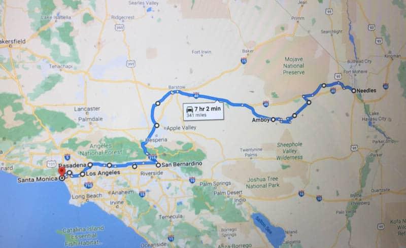 Route 66 in California Road Trip Map