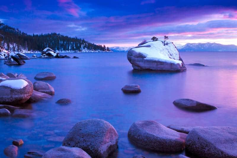 Sunset at Bonsai Rock Lake Tahoe Nevada
