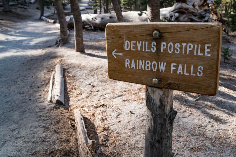 Trail signage in Devils Postpile National Monument California