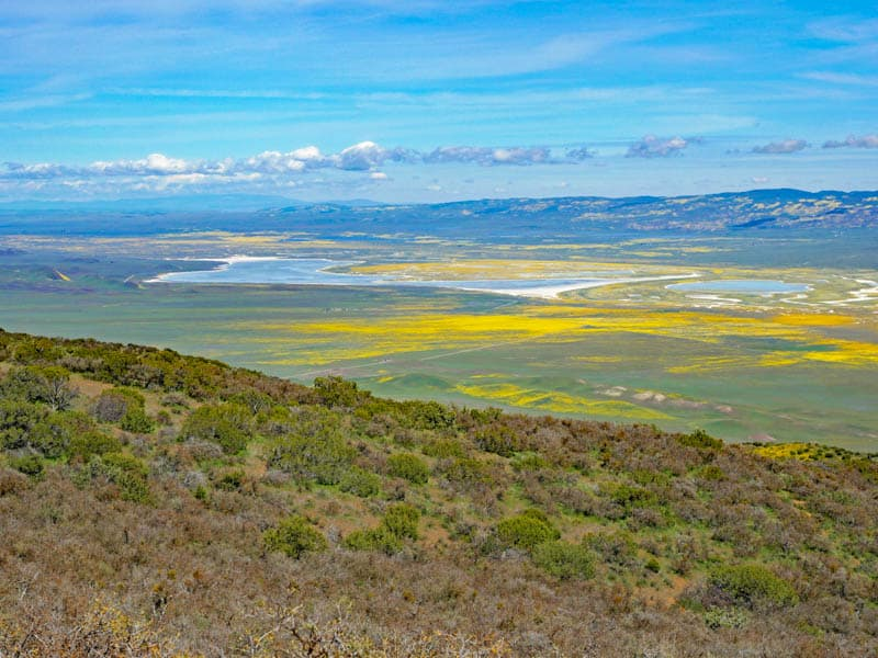 View of Soda Lake and Carrizo Plain from Hiking Trail