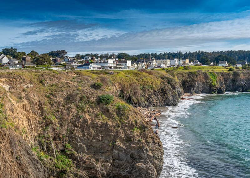 A view of Mendocino Village in Northern California