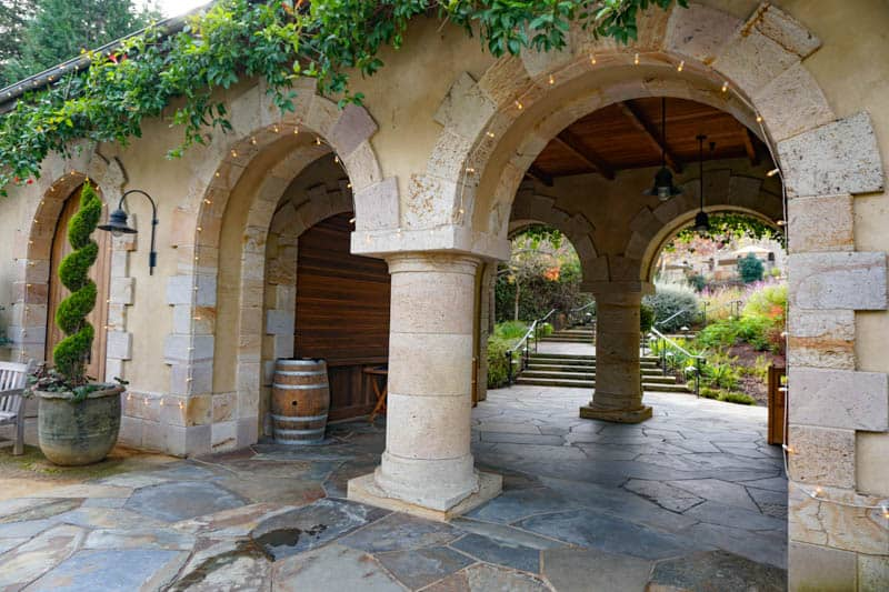 Arched entrance to Beringer Vineyards in Napa Valley California