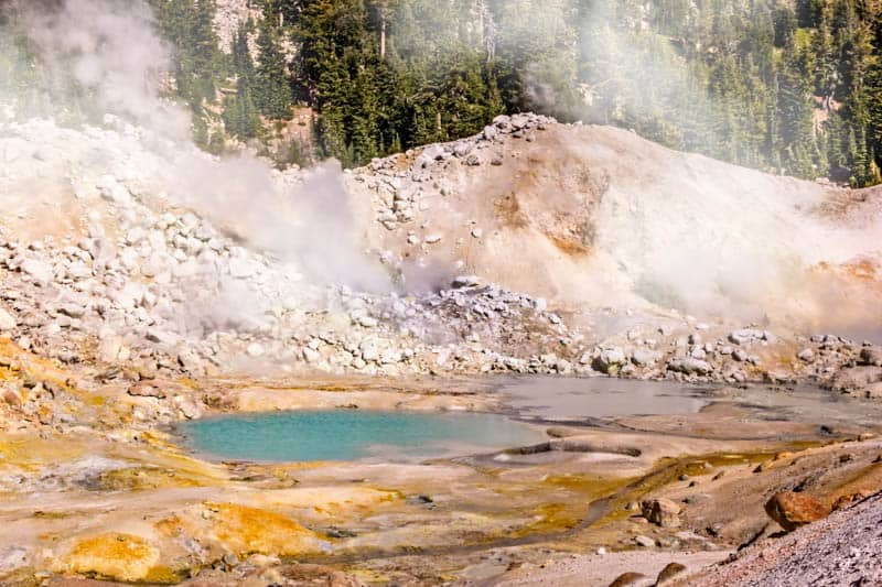 Hydrothermal features in Bumpass Hell in Lassen Volcanic National Park, California