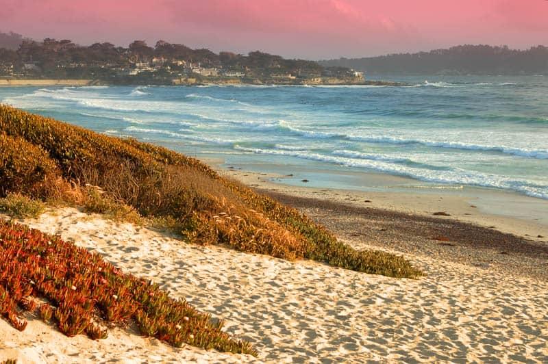 Carmel State Beach in California at Sunset