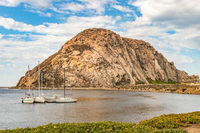 A view of Morro Rock and Morro Bay in California