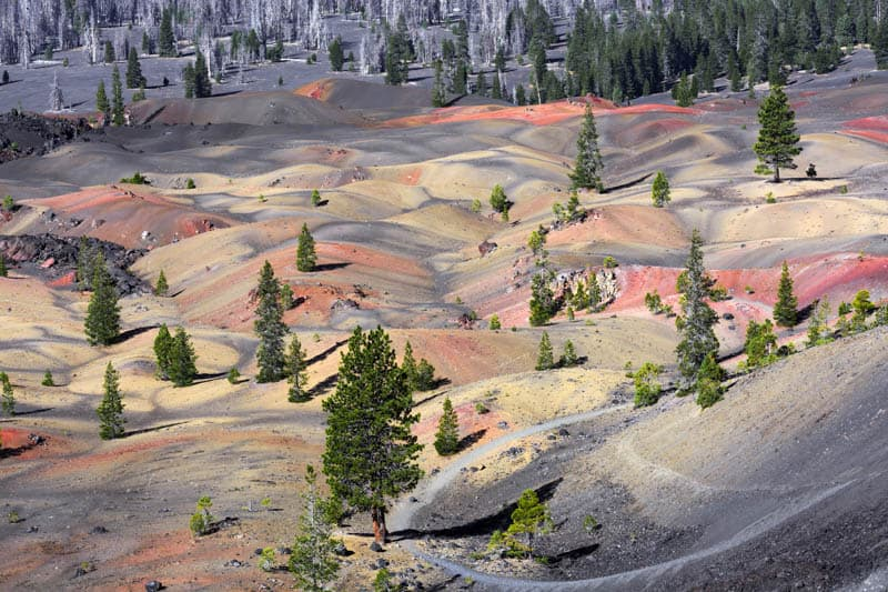 Painted Dunes from the top of Cinder Cone in Lassen Volcanic NP California