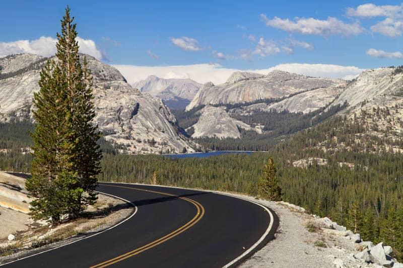 Driving Tioga Road Over Tioga Pass in California