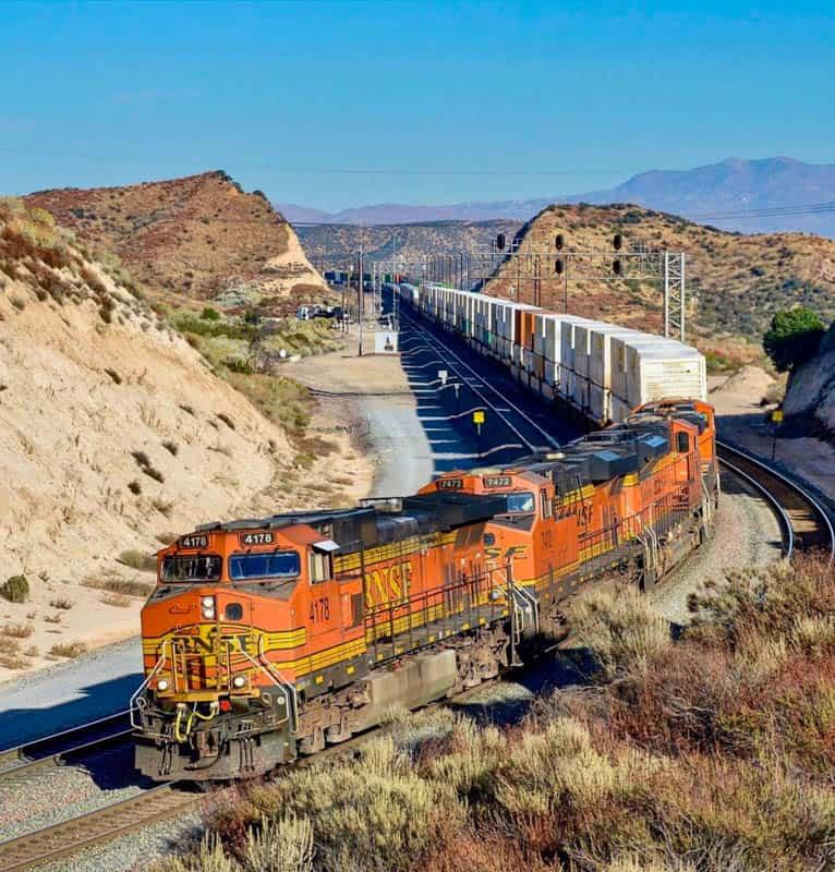 Train going over the Cajon Summit in California