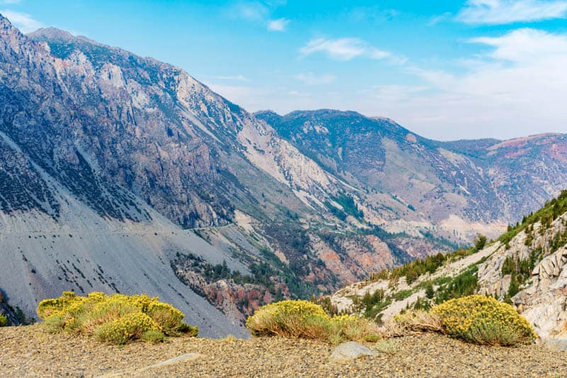 Views of the Valley and Tioga Road from near Tioga Pass in California