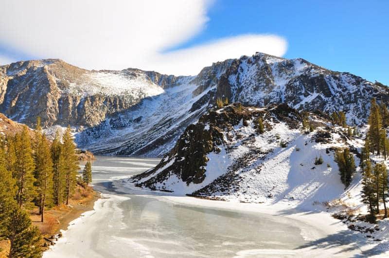 Frozen Landscape along Tioga Road California in the winter