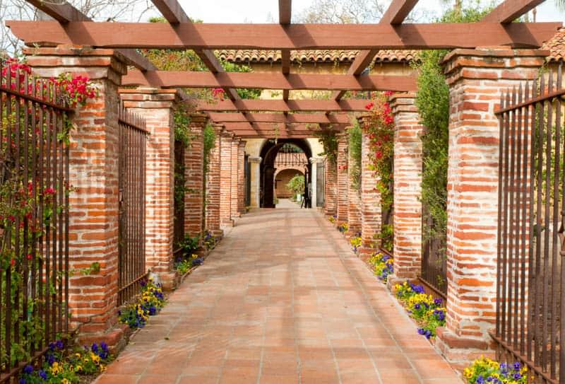 Brick Pathway at Mission San Juan Capistrano in California