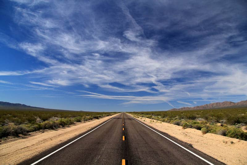 Road to Mojave National Preserve in Southern California