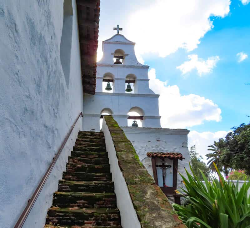 Steps lead up to the bell tower at the Mission San Diego de Alcala, but the stairs are off limits to visitors.