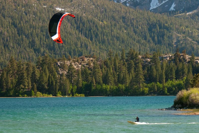 A kiteboarder at June Lake in California