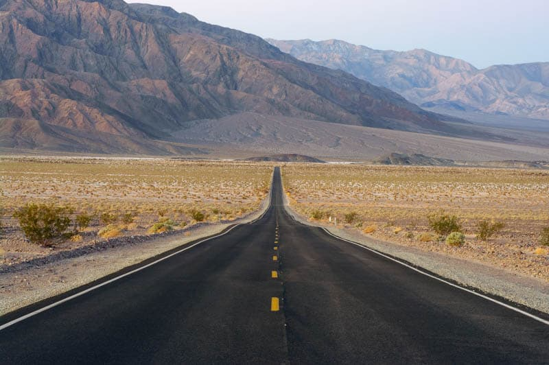 Road through Death Valley National Park in California