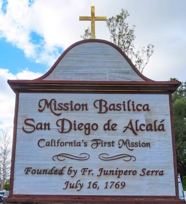 San Diego Mission sign in San Diego California