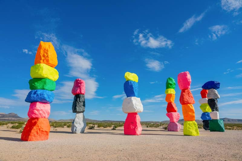 Seven Magic Mountains, also called Neon Rocks, in Nevada